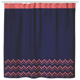"ASL Home Decor ""ILY Chevron"" Fabric ASL Shower Curtain: Navy"
