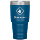 "Sign Language Tumbler ""ILY Squared"" Personalized ASL Tumbler 30oz"