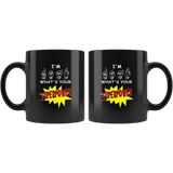 "Sign Language Mug ""Super Power"" Black Ceramic ASL Coffee Mug"