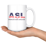 "Sign Language Mug ""Flag Letters"" White Ceramic ASL Coffe Mug"