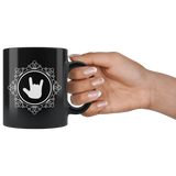 "Sign Language Mug ""ILY Elegant"" Black Ceramic ASL Coffee Mug"