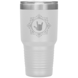 "Sign Language Tumbler ""ILY Elegant"" Etched Steel ASL Tumbler 30oz"