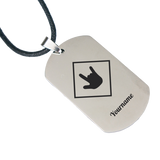 "ILY Necklace ""ILY Squared"" Engraved Dogtag Necklace"