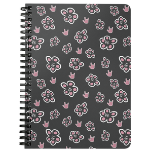 "ASL Stationery ""ILY Floral"" 5 x 7 Spiral ASL Notebook"