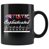 "Sign Language Mug ""Artistic Literal"" Black Ceramic ASL Coffee Mug"