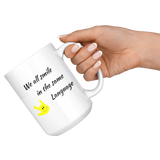 "Sign Language Mug ""Everyone Smiles"" White Ceramic ASL Coffee Mug"