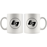 "Sign Language Mug ""Interpreter Hearts"" White Ceramic ASL Coffee Mug"