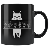 "Sign Language Mug ""Cat Lover"" Black Ceramic ASL Coffee Mug"