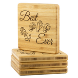 "ASL Merchandise ""Best Mom"" Etched Bamboo ASL Coaster Set"