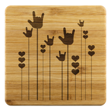 "ASL Merchandise ""ILY Sprout"" Etched Bamboo ASL Coaster Set"