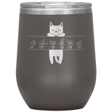 "Sign Language Tumbler ""Cat Lover"" Personalized ASL Wine Tumbler"