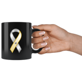 "Sign Language Mug ""Awareness"" Black Ceramic ASL Coffee Mug"