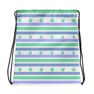 "ASL Bag ""ILY Striped"" Polyester 15x17 ASL Drawstring Bag"