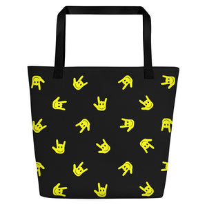 "ASL Bag ""ILY Smiley"" Polyester 16x20 ASL Tote Beach Bag"