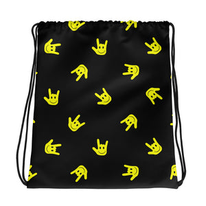 "ASL Bag ""ILY Smiley"" Polyester 15x17 ASL Drawstring Bag"