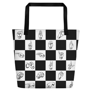 "ASL Bag ""Checkered"" Polyester 16x20 ASL Tote Beach Bag"
