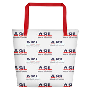 "ASL Bag ""Flag Letters 2"" Polyester 16x20 ASL Tote Beach Bag"