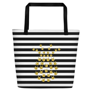 "ASL Bag ""ILY Pineapple 2"" Polyester 16x20 ASL Tote Beach Bag"