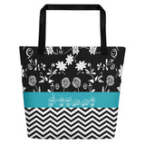 "ASL Bag ""Floral-Chevron"" Personalized 16x20 ASL Tote Beach Bag"
