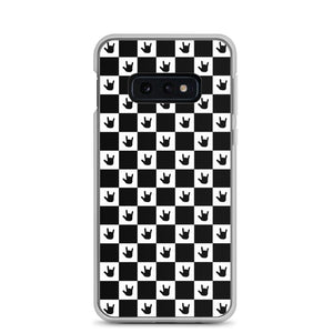 "Sign Language Phone Case ""ILY Checkered"" ASL Samsung Case: Black"
