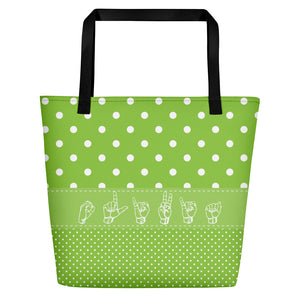 "ASL Bag ""Polka-Dots"" Personalized 16x20 ASL Tote Beach Bag"