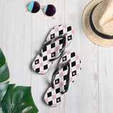 "Sign Language Shoes ""ILY Argyle"" ASL Flip-Flops Sandals"
