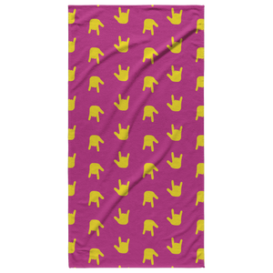"Sign Language Towel ""ILY Wave"" 30x60 Cotton ASL Beach Towel: Pink"