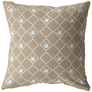 "ASL Home Decor ""ILY Squared"" ASL Throw Pillow: Tan - Multiple Sizes"