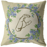 "ASL Home Decor ""Blue Floral"" ASL Throw Pillow - Multiple Sizes"