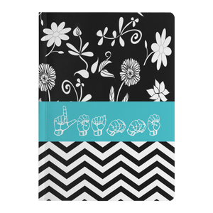 "ASL Stationery ""Floral-Chevron"" Paperback ASL Journal: Personalized"
