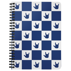 "ASL Stationery ""ILY Checkered"" 5 x 7 Spiral ASL Notebook: Blue"