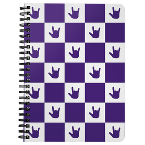 "ASL Stationery ""ILY Checkered"" 5 x 7 Spiral ASL Notebook: Purple"