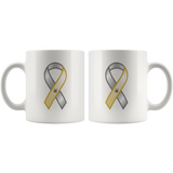 "Sign Language Mug ""Awareness"" White Ceramic ASL Coffee Mug"