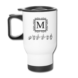 "Sign Language Mug ""Monogram"" Stainless Steel ASL Travel Mug - white"