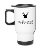 "Sign Language Mug ""Hunting"" Stainless Steel ASL Travel Mug - white"