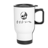 "Sign Language Mug ""Tribal Skull"" Stainless Steel ASL Travel Mug - white"