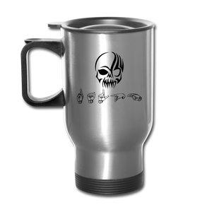 "Sign Language Mug ""Tribal Skull"" Stainless Steel ASL Travel Mug - silver"