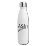 "ASL Merchandise ""Language in 3D"" Stainless Steel ASL Water Bottle 17oz - white"