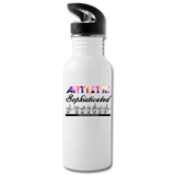 "ASL Merchandise ""Artistic Literal"" Aluminum ASL Water Bottle 20oz - white"