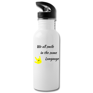"ASL Merchandise ""Everyone Smiles"" Aluminum ASL Water Bottle 20oz - white"