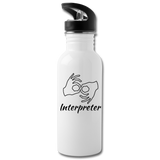 "ASL Merchandise ""Interpreter"" Aluminum ASL Water Bottle 20oz - white"
