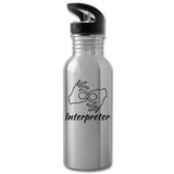 "ASL Merchandise ""Interpreter"" Aluminum ASL Water Bottle 20oz - silver"