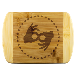 "ASL Merchandise ""Interpreter Hearts"" Etched Bamboo Cutting Board"