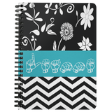 "ASL Stationery ""Floral-Chevron"" 5 x 7 Spiral ASL Notebook: Personalized"