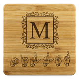 "ASL Merchandise ""Monogram"" Etched Bamboo ASL Coaster Set"