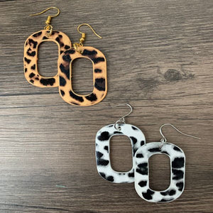 Leather Pendants Rectangle Animal Print