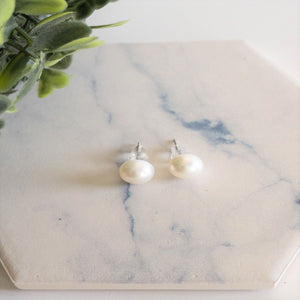 Freshwater Pearl Sterling Silver Round Stud Earrings
