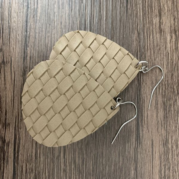 Faux Leather Teardrop Basket Weave Earrings