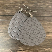 Load image into Gallery viewer, Faux Leather Teardrop Basket Weave Earrings