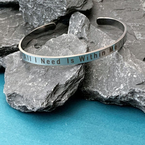 Positive Quote Open Cuff Bangles Bracelets